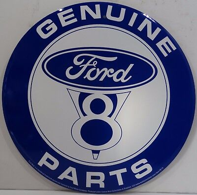 "Genuine Ford V8 Parts Logo Round 12"" Metal Sign"