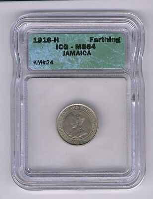 Jamaica  1916-H  1 Farthing Coin, Choice Uncirculated, Icg Certified Ms-64
