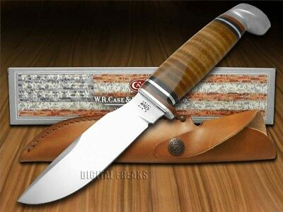 CASE XX Polished Leather Drop Point Fixed Blade Hunter Stainless Knives Knife