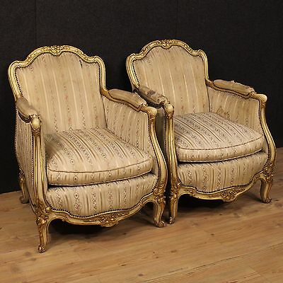 Pair of armchairs furniture wood lacquered golden living room chairs
