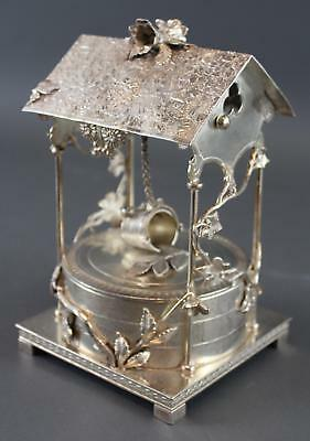 Antique Victorian Rogers & Bro Silverplate Mechanical Well Vanity Jewelry Box