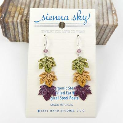 Sienna Sky Earrings Sterling Silver Hook Green Yellow Rust Leaves Handmade USA