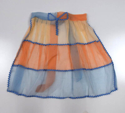 Vintage 50s TRUMP Sheer Chiffon Coral Pink Blue Tiered Retro 1/2 Apron Free Size