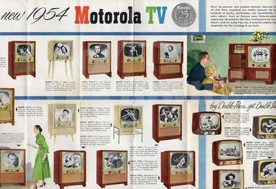 Motorola Pictron Television Sets Vintage 1950s Graphic Advertising Poster Flyer