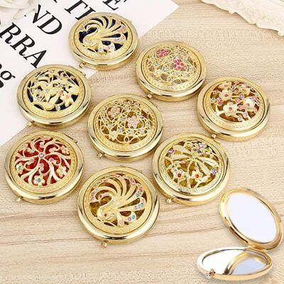 Folding Pocket Mirror Round Compact Double-sided Crystal Hollow Makeup Mirror GT