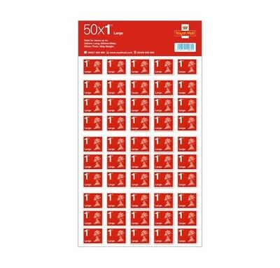 50 First 1st Class Royal Mail Large Letter Stamps Self Adhesive Stamp New UK