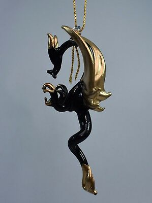 Hanging Black and Gold Dragon of Blown Glass Crystal