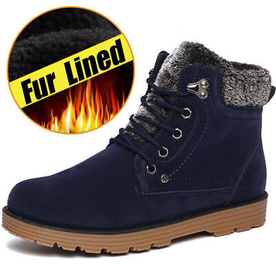 Mens warm Military Fleece Fur Lined Thicken Casual Army Combat Snow Ankle Boots