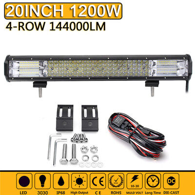 "20"" Inch Quad-row LED Work Light Bar Combo Driving Lamp Car Truck Boat +Wiring"