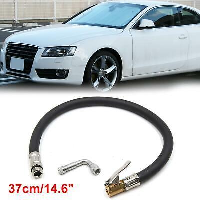 37cm Clip On Car Air Tire Inflator Hose w Silver Tone 90 Degree Valve Extension