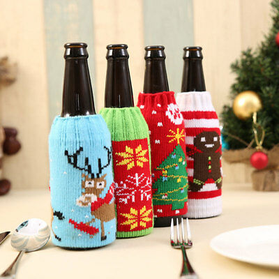 Christmas Wine Bottle Sweater Knit Bag Xmas Santa Tree Drink Ornament Cover