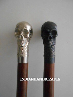"""NAUTICAL VICTORIAN WALKING STICK OF 36"""" LOt of 2 IN CHROME FINISH SKULL HANDLE"""