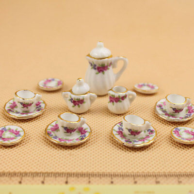 15Pcs/Set Miniature Ceramic Teaware Tea Pot Cups Model Kids Children Toys Home