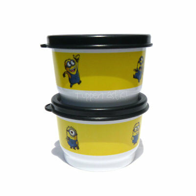 Tupperware NEW 2 x MINIONS Snack Cup Set 120ml Kids Baby Meals Lunch Snacks