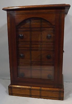 Antique Edwardian Inlaid Mahogany Miniature Collector's / Jewellery Chest Box