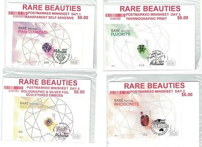 2017 Melbourne Stamp Show Rare Beauties opt numbered minisheet set All 4 day