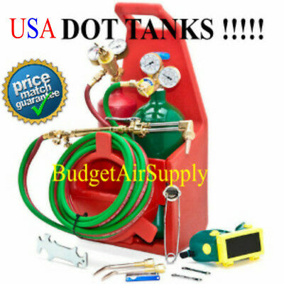 "HVAC PORTABLE TOTE  WELDING Torch Kit OXY ACETYLENE""VICTOR TYPE"" DOT tanks USA"