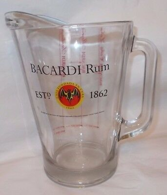 BACARDI RUM  Large Glass Cocktail Mixing Pitcher Cuba Libre Mojito Santiago