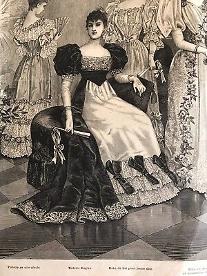 MODE ILLUSTREE SEWING PATTERN December 12,1892 STUNNING EMPIRE BALL GOWNS