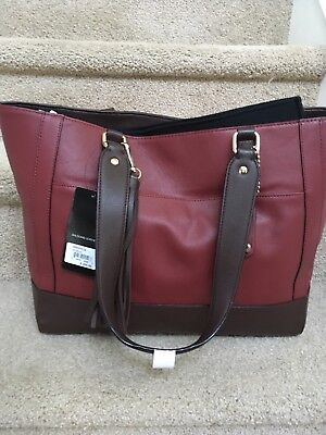 WILSONS LEATHER MADISON TOTE  Laptop/Hobo 2 bags in 1  Burgundy color NEW!