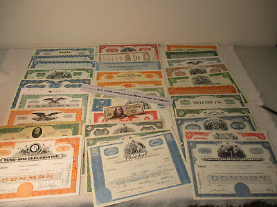 (30) Vintage Stock Certificates, Certificate, Bond Coupons, 1920's - 1980's