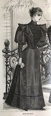 MODE ILLUSTREE SEWING PATTERN August 13,1893 MOURNING DRESS