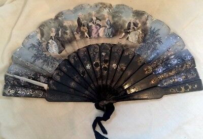 Antique French Paper Painted Fan Figural Two Sided
