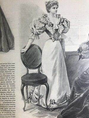 MODE ILLUSTREE SEWING PATTERN January 6,1895 BALL GOWN
