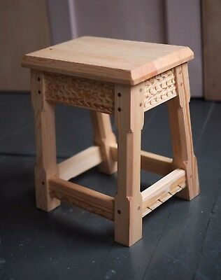 Handmade Pine Joint Stool w. carved detailing