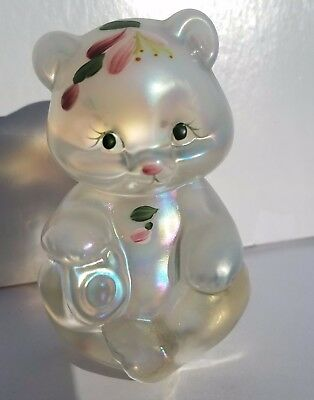 Beautiful Fenton Hand Painted and Artist Signed Floral on Crystal Iridized Bear