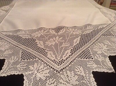 Vintage Large Hand Made Tablecloth Deep Crochet Border.