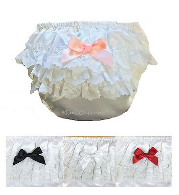 Baby Girls White Satin Frilly Lace Knickers With Satin Bow PINK BLACK NAVY RED