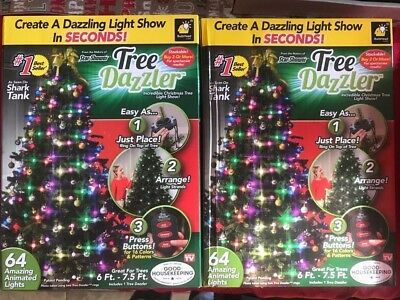 Lot Of 2 Boxes Shark Tank Tree Dazzler Christmas Light Show 64 Animated  Lights
