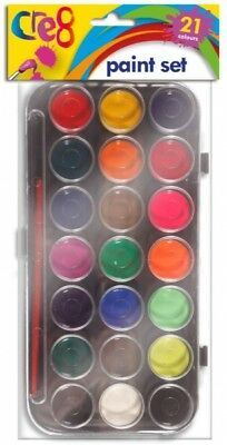 21 Water Colour Childrens Kids Paint Palette & Brush Set Arts & Crafts Painting.