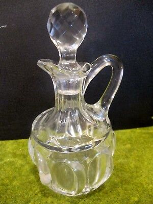 Old Cut Glass Vinegar Cruet Bottle With glass Stopper