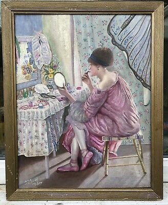 Very interesting French impressionist oil painting of lady by desk by S.Picard