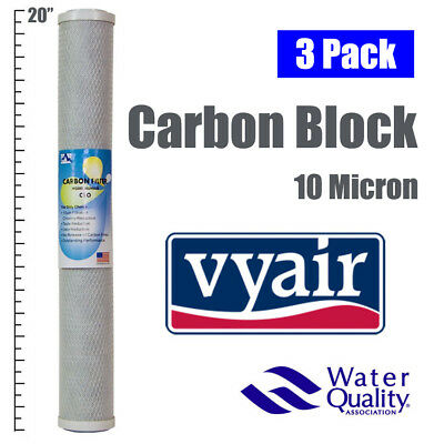"3 x 20"" CARBON BLOCK 10 MICRON TASTE AND ODOUR REVERSE OSMOSIS WATER FILTER"