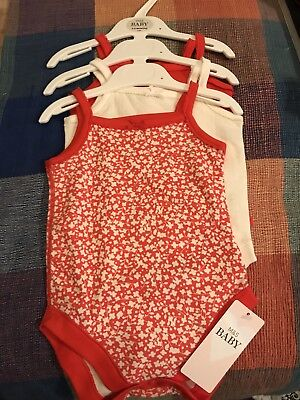 Marks And Spencer 3 Pack Vests - Red And White Mix - 3-6 Months - New With Tags