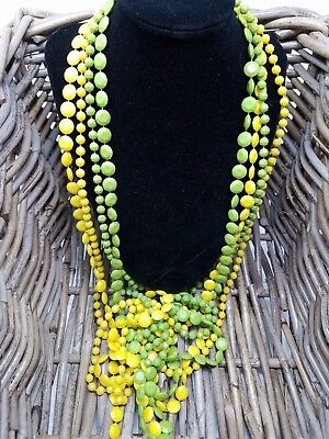 Vintage Fun Multi Strand Colorful Beaded Necklace Unsigned Yellow Green Strands