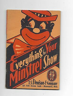 Minstrel Show Supply and Song Catalog - Rare Denison Catalog - Black Americana