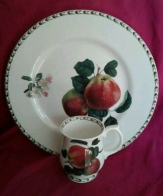 "Hookers Fruit Fine Bone China By Rosina 10"" Dinner Plate & Footed Cup Apples"