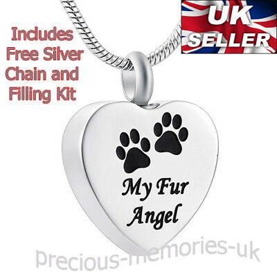 Dog Cat Cremation Ashes Necklace - Keepsake Memorial Jewellery - Pet Urn Pendant