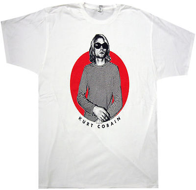 Official Nirvana Striped T Red Circle Adult T-Shirt -Rock Band Kurt Cobain Musi