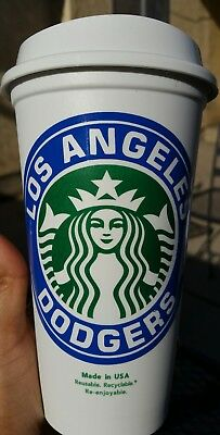 LA Dodgers Starbucks Custom Made 16 oz Travel Coffee Cup BPA Free New!