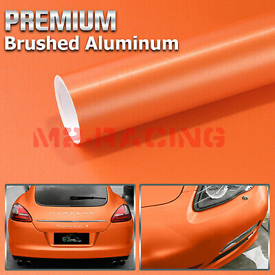 "4/""x8/"" Sample Brushed Aluminum Orange Vinyl Wrap Sticker Decal Air Release Bubble"