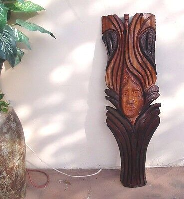 vintage hand carved wood wall hanging decor large and heavy