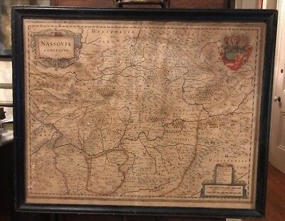 Vintage Antique Victorian Framed Map Of Rhineland Nassovia Comitatus