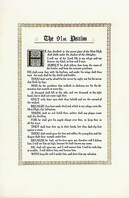 THE 91ST PSALM Vintage & Rare c1930s-40s Rare Inspirational Letterpress Litho