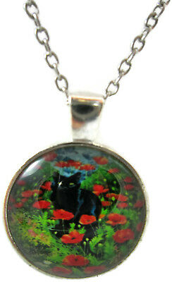 Cat Necklace  Unique Jewelry Black Pendant Xmas Gift for Holiday Glass Cheap