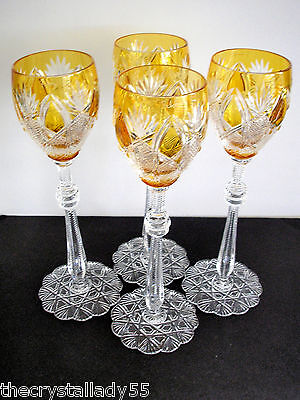 """4 Faberge Czar Imperial Amber Gold Cased Cut To Clear 10 5/8 """"  Wine Goblets"""